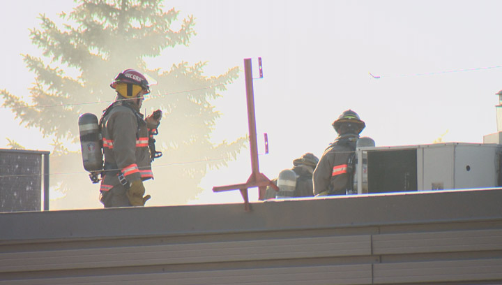 Crews arriving at a fire at a Saskatoon strip mall Wednesday morning met by heavy black smoke and flames.