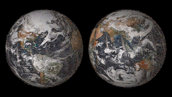 The 3.2 gigapixel Global Selfie mosaic, hosted by GigaPan, was made with 36,422 individual images that were posted to social media sites on or around Earth Day, April 22, 2014.