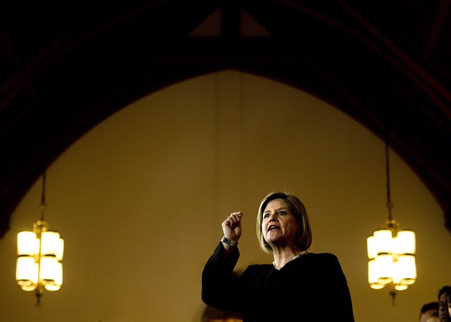 Ontario NDP leader Andrea Horwath delivers her campaign platform during a campaign stop in Toronto on Thursday, May 22, 2014.