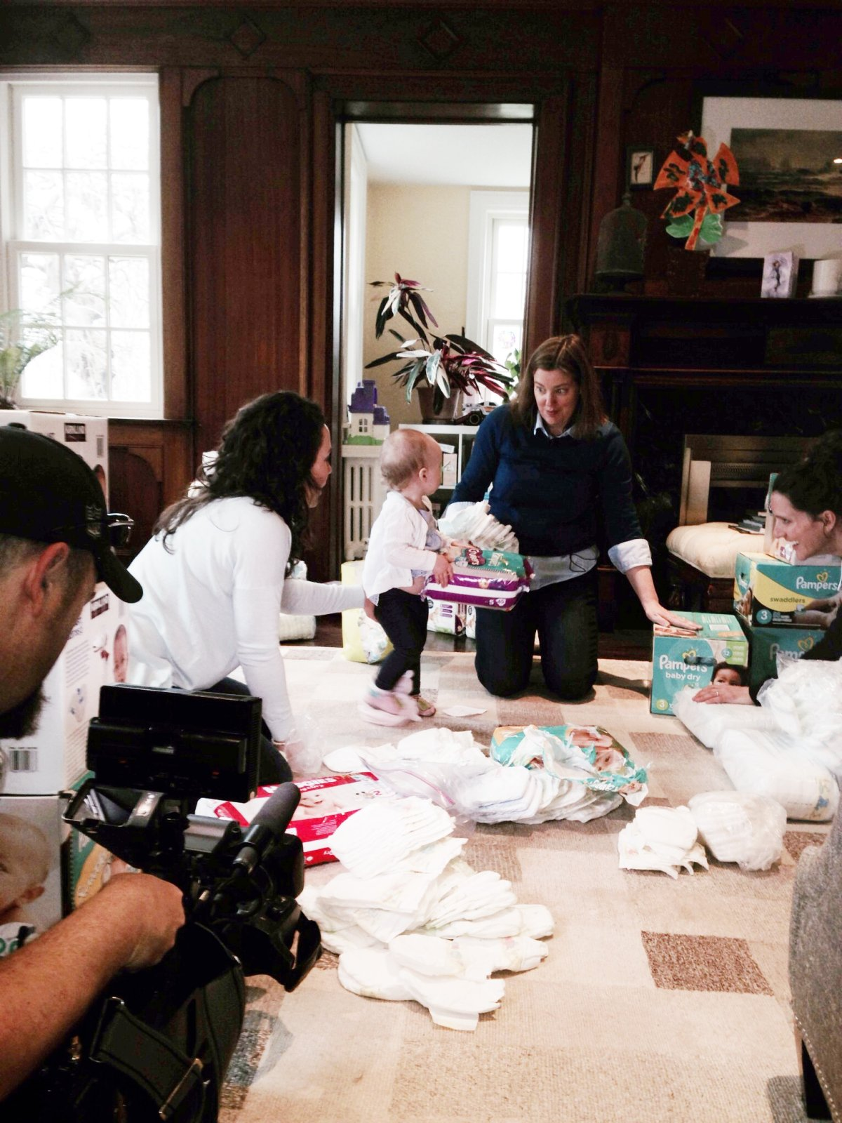 The Diaper Bank's Dale McIntosh sorting diapers.