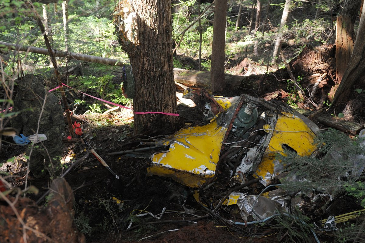 Aircraft debris at the site of the Avro Anson aircraft crash on May 6, 2014.   The Avro Anson L7056, a war-time training aircraft, crashed and went missing 30 Oct 1942.