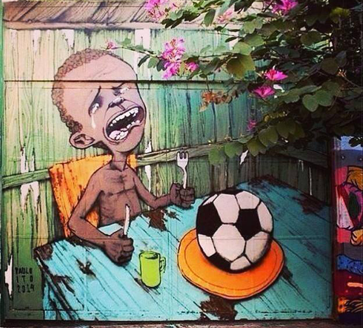 A painting of a starving child with soccer ball on his plate has gone viral.