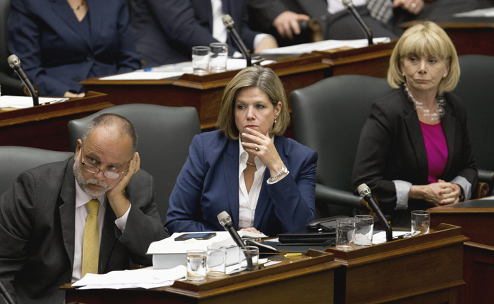 NDP leader Andrea Horwath (center), MPP Charles Bisson (left) and MPP Cheri DiNovo (right) during question period Sep 9, 2013.