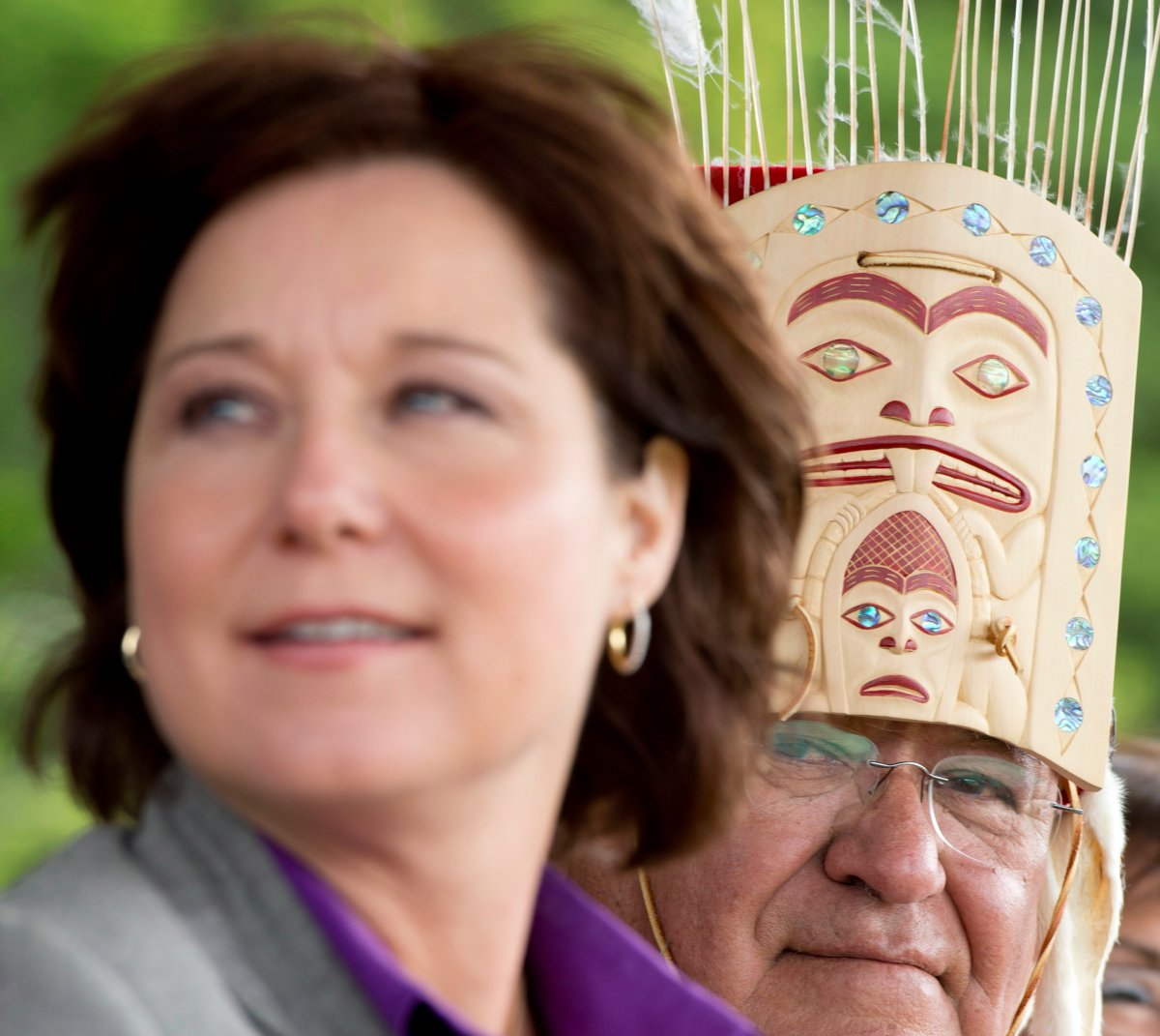 British Columbia Premier Christy Clark and Chief Sammy Robinson of the Haisla First Nation attend an event to celebrate a recent land sale to the Haisla in Kitimat, B.C., Tuesday, June 17, 2014.