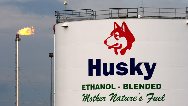 The Husky Energy upgrader facility in Lloydminster, Saskatchewan. A man has been arrested after making a threat on social media to set off a bomb at the upgrader.