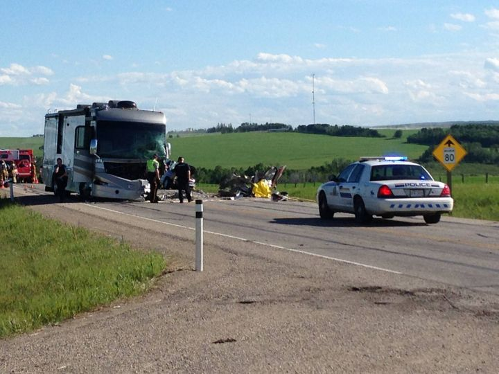 Two people were killed in a collision on Highway 22 near Cremona Sunday, June 22, 2014.