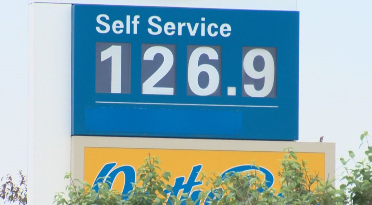The price of regular gasoline at gas station in south Edmonton this spring.