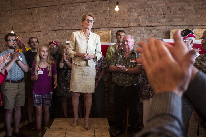 Ontario Premier and Liberal Leader Kathleen Wynne addresses supporters in Stratford, Ontario on Monday June 9, 2014,