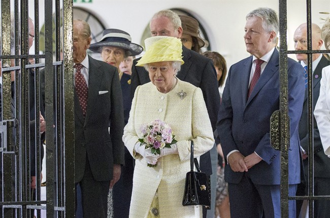 Britain's Queen Elizabeth II is seen during a visit at the Crumlin Road jail visitor attraction in Belfast, Tuesday, June 24, 2014.