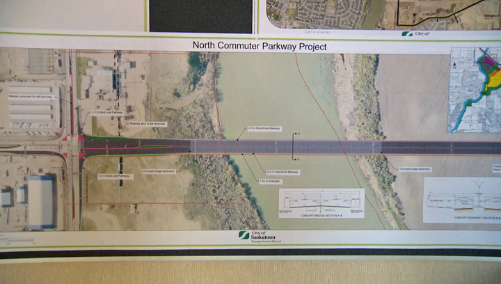 The federal and provincial governments announce millions in funding to build the North Commuter Parkway Bridge and Traffic Bridge in Saskatoon.