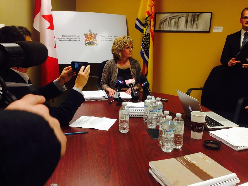 Languages Commissioner Katherine d'Entremont is seen here speaking to reporters in June 2014.