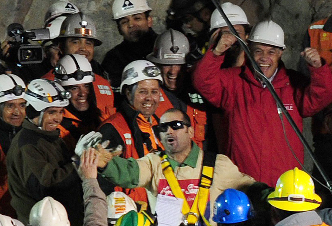 Mario Sepulveda is seen here moments after surfacing from a Chilean mine he and 32 others were trapped in for 69 days in 2010.
