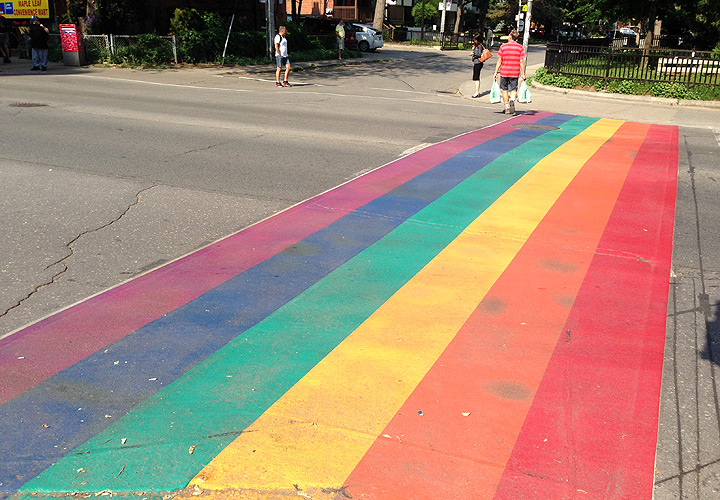 Toronto World Pride | Rainbow crosswalks on Church Street