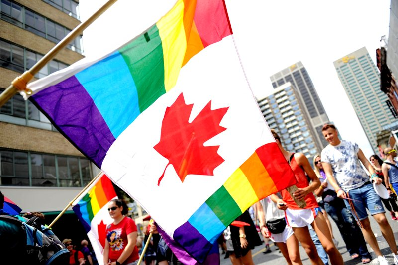 A Canadian flag seen at the Dyke March in downtown Toronto, Ont., June 29, 2013. THE CANADIAN PRESS IMAGES/Dominic Chan.