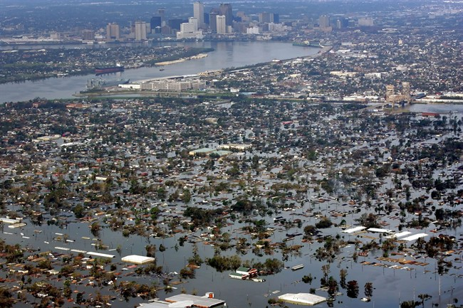 FILE - This Aug. 30, 2005 file photo shows floodwaters from Hurricane Katrina covering a portion of New Orleans.