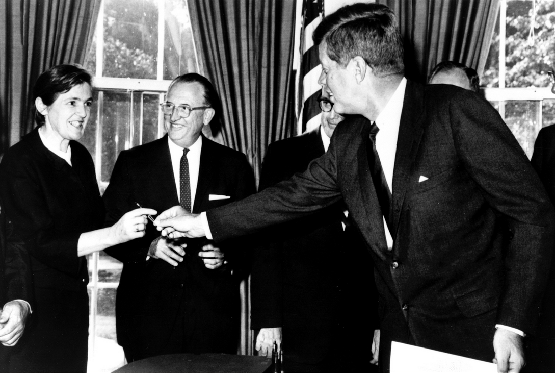 Seen here receiving an award from President John F. Kennedy, Frances Kelsey, who turned 100 on July 24, 2014, was instrumental in stopping the deadly drug known as Thalidomide from entering the U.S. market.