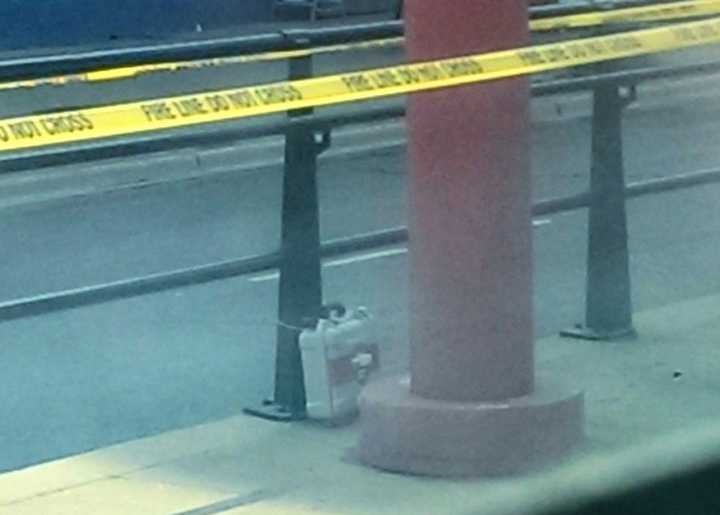 The suspicious package found at Spadina Ave. and Dundas St. W. July 7, 2014. Courtesy Instagram user little_d33.