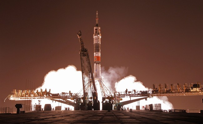 The Soyuz-FG rocket booster with Soyuz TMA-13M space ship carrying a new crew to the International Space Station, ISS, blasts off at the Russian leased Baikonur cosmodrome, Kazakhstan, Thursday, May 29, 2014.