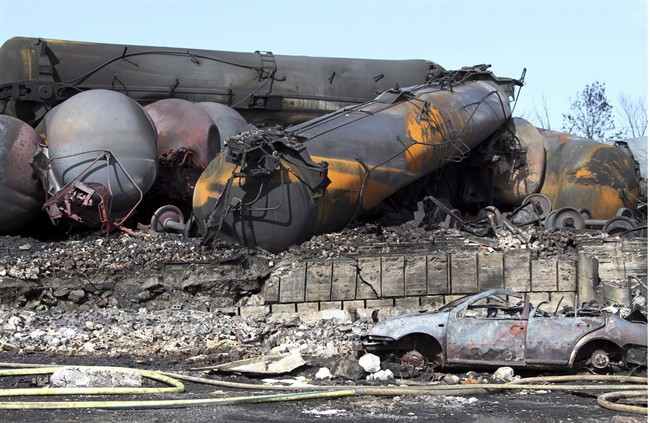 Wrecked oil tankers and debris from a runaway train in Lac-Megantic, Que. are pictured July 8, 2013.
