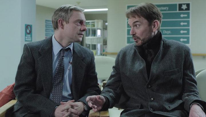 Martin Freeman and Billy Bob Thornton in a scene from 'Fargo.'.
