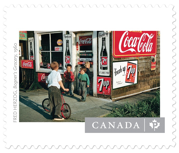 This Canada Post stamp features Bogner's Grocery, shot in 1960 by Fred Herzog.