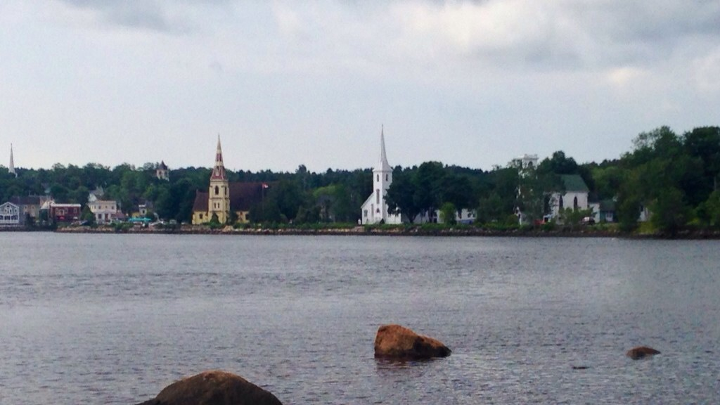 View of the three churches in Mahone Bay, NS.