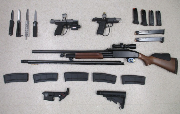The Canadian Border Service Agency (CBSA) has laid six charges against two people in separate weapon seizures at the North Portal border crossing.