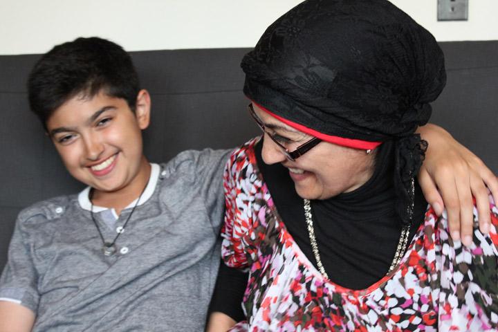 Sana Hassan and her son Omar joke around