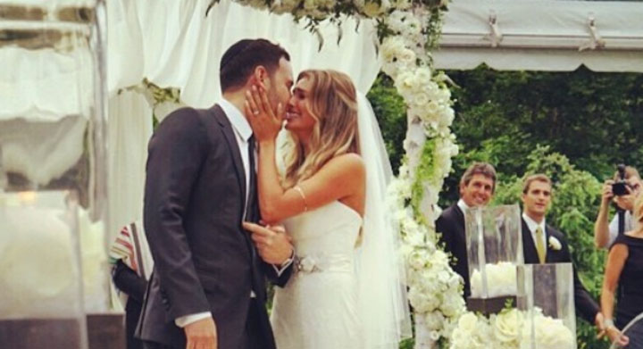 Scooter Braun and Yael Cohen at their wedding ceremony on July 6, 2014.