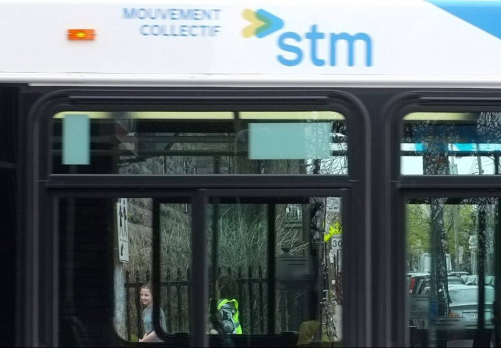 A stock image of an STM bus in Montreal.