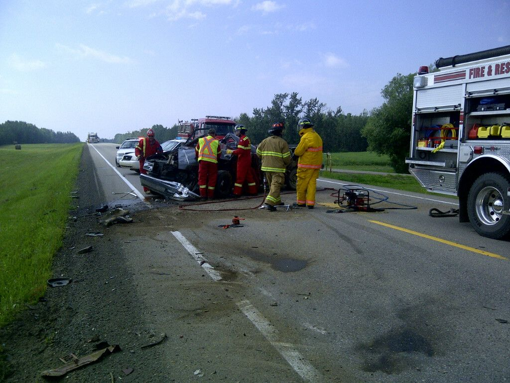 One person is dead following a two vehicle collision on Highway 831, August 2, 2014.