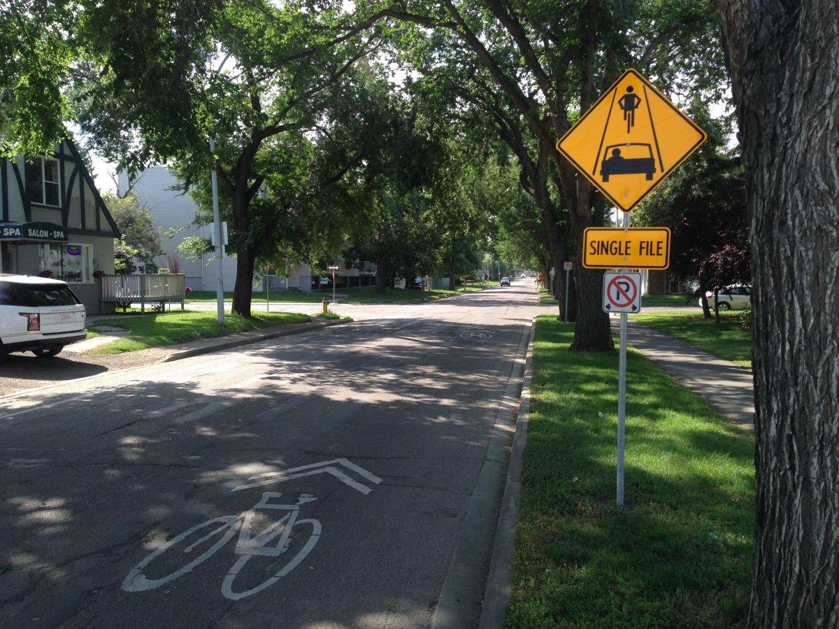 Bike lane along 106 Street in Edmonton.