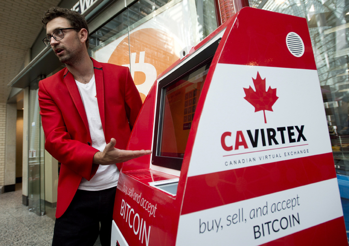 Kyle Kemper, Cavirtex's vice-president of business development, introduces six new Bitcoin Teller Machines in Toronto on Wednesday, August 13, 2014.