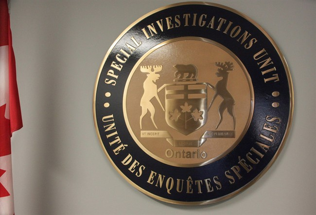 The emblem of Ontario's Special Investigations Unit is seen in headquarters in Mississauga, Ont., on Sept. 27, 2013.