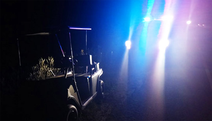 A drunk man arrested driving a golf cart on a Saskatchewan highway almost blew double the legal limit.