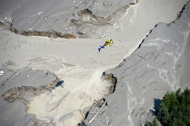 FILE PHOTO: A aerial view shows the damage caused by a tailings pond breach near the town of Likely, B.C. Tuesday, August, 5, 2014. The pond which stores toxic waste from the Mount Polley Mine had its dam break on Monday spilling its contents into the Hazeltine Creek causing a wide water-use ban in the area. THE CANADIAN PRESS/Jonathan Hayward.
