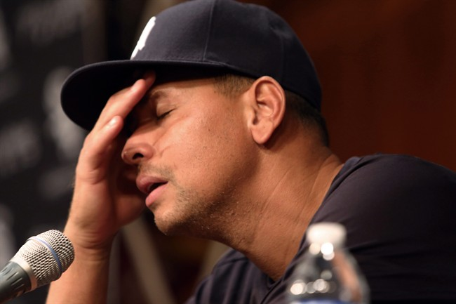 In this Aug. 5, 2013 file photo, New York Yankees' Alex Rodriguez talks during a news conference before the Yankees played the Chicago White Sox in a baseball game at US Cellular Field in Chicago.
