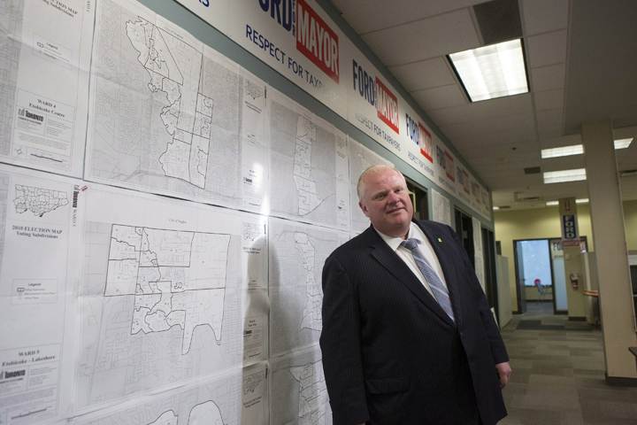 Toronto Mayor Rob Ford waits to address the media at his campiagn office on Thursday, August 14 2014