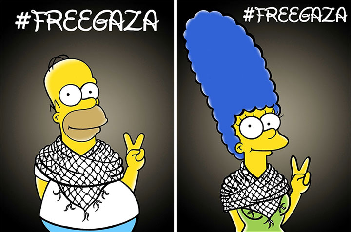 Homer Simpson and Marge Simpson advocate for a free Gaza in these art pieces by Alexsandro Palombo.