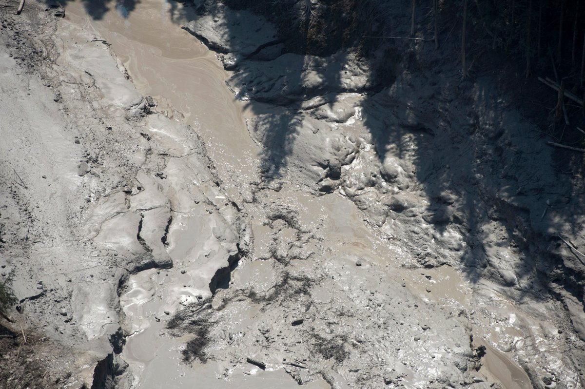 An aerial view shows the damage caused by a tailings pond breach near the town of Likely, B.C. Tuesday, August, 5, 2014.