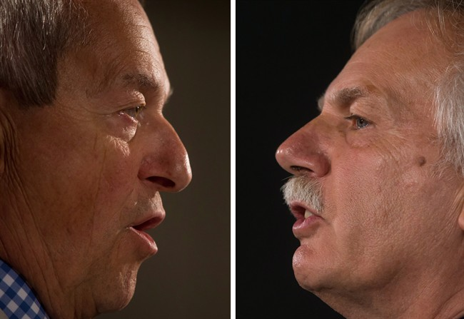 In this two-photograph panel, B.C. Education Minister Peter Fassbender, left, and B.C. Teachers' Federation president Jim Iker, right, speak about the teachers' strike during separate news conferences in Vancouver, B.C., on Sunday August 31, 2014.