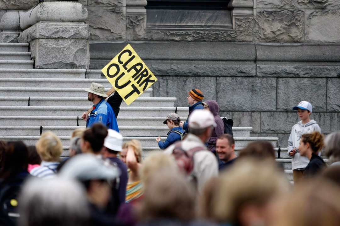 """Parents, teachers and politicians rally for B.C. education dubbed """"Christy's Class"""" during a teach-in on the B.C. Legislature lawn in Victoria, B.C., September 2, 2014 during what should have been the first day of classes across the province."""