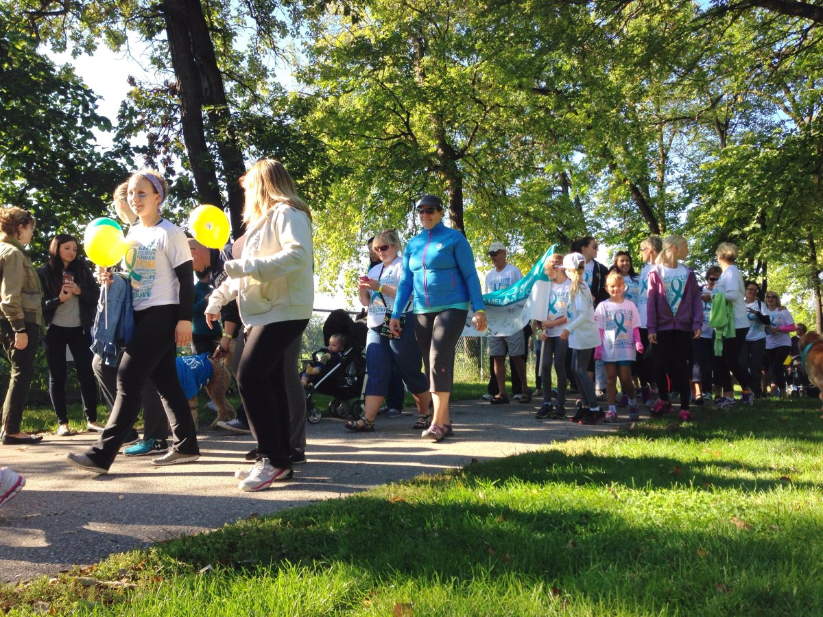 Hundreds of Winnipeggers walk to raise awareness and support for ovarian cancer.