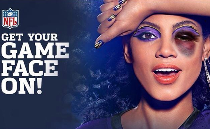"""The altered ads, taken from the beauty brand's """"Get Your Game Face On!"""" NFL campaign."""