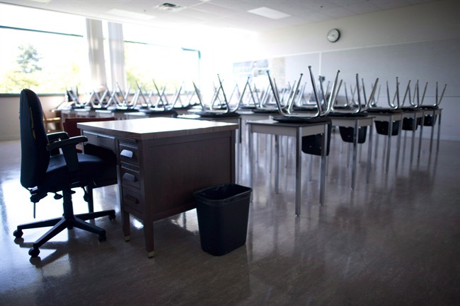 A empty teachers desk is pictured at the front of a empty classroom.