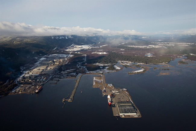 Douglas Channel, the proposed termination point for an oil pipeline in the Enbridge Northern Gateway Project, is pictured in an aerial view in Kitimat on January 10, 2012.