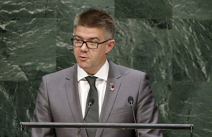 Gunnar Bragi Sveinsson, Minister for Foreign Affairs of Iceland, speaks during the 69th session of the United Nations General Assembly at U.N. headquarters, Monday, Sept. 29, 2014.