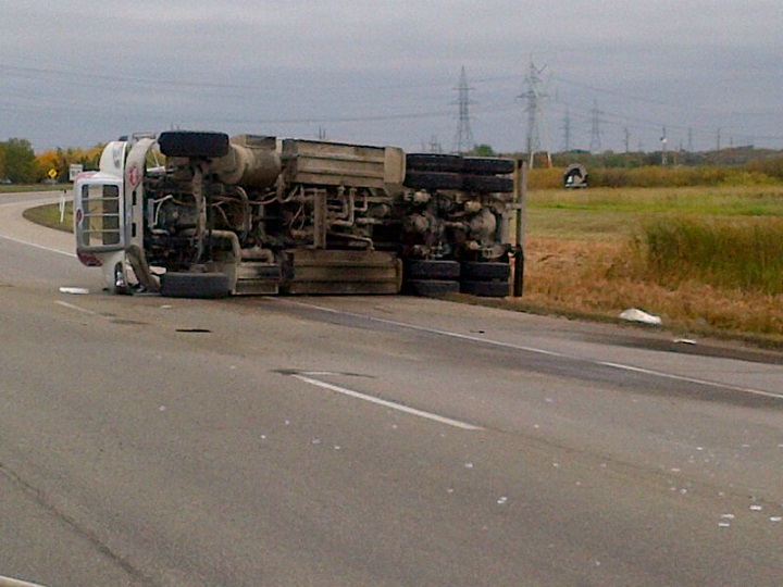 A tanker hauling diesel fuel tipped over on Hwy. 59 at MacGregor Farm Road at about 2:45 p.m. Wednesday.