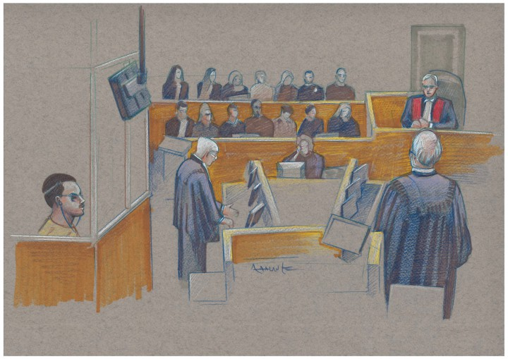 Court sketch from Luke Magnotta trial, Monday Sept. 29.