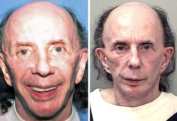 Phil Spector is pictured in July 2013 and October 2013.